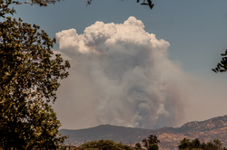 The Chariot Fire started burning Saturday about nine miles southeast of Julian. It has continued to move west, driven by erratic winds.