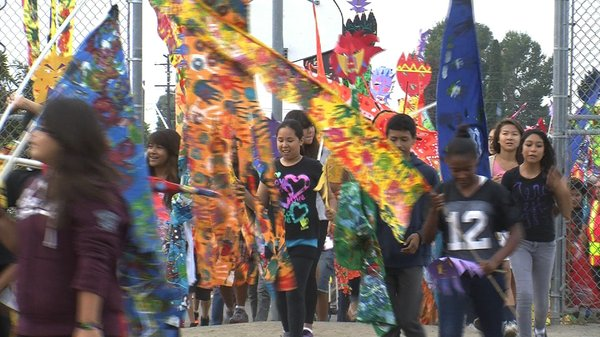 Sixth graders from Monroe Clark Middle School in City Heights marched with co...