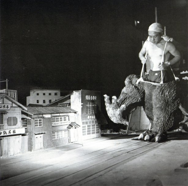 "Behind the scenes with men in suits on ""Godzilla."""