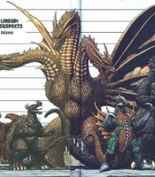 A kaiju line up by Arthur Adams.