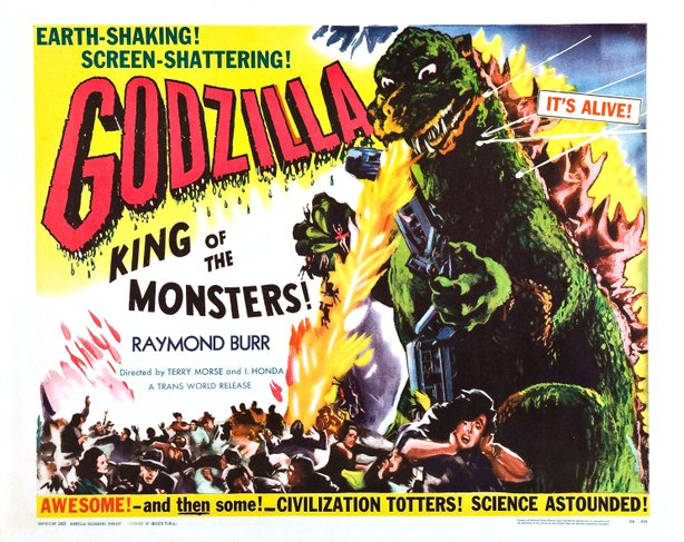 "Artwork for the Americanized ""Gojira"" that was released in the U.S. as ""Godzilla, King of the Monsters"" with new footage featuring Raymond Burr."