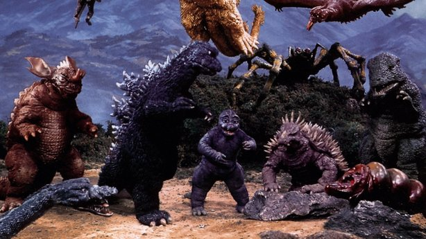 "The usual suspects of kaiju from ""Destroy All Monsters."""
