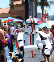 A stormtrooper displays rainbow stripes at the San Diego Pride Parade in Hillcrest, July 13, 2013.