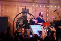 Brandon Flowers and Ronnie Vannucci, Jr. from The Killers perform on July 24,...