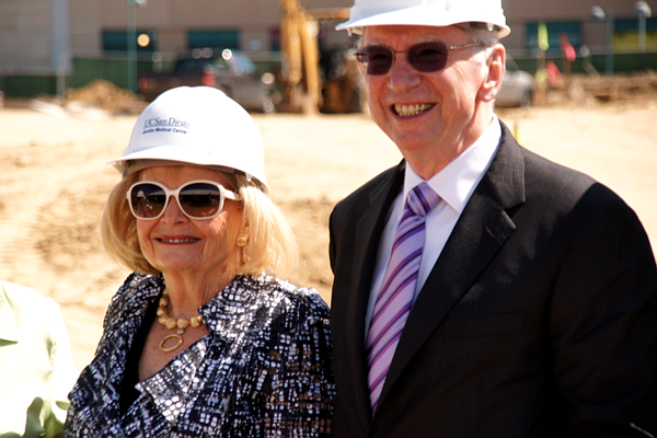 Joan and Irwin Jacobs at the groundbreaking for the Jacobs Medical Center in ...