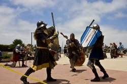 The Society for Creative Anachronism members hold sparring and combat demonstrations every year at Comic-Con. They fight with swords (made of rattan) and real armor (very heavy). They claim to recreate the fun parts of medieval society, like feasts, costumes and sword fighting, and leave out plagues, lice, and beheadings.