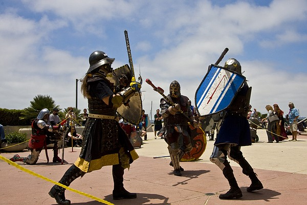 The Society for Creative Anachronism members hold sparrin...