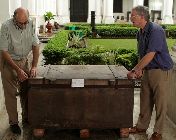 At Calcutta's Indian Museum, German scholar Professor Harry Falk (left) and a...