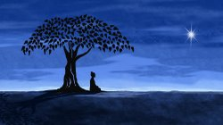 Animation of the Buddha gaining enlightenment while sitting under a fig tree.