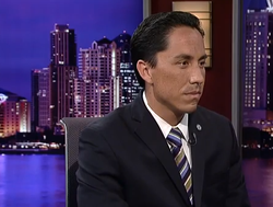 Interim Mayor Todd Gloria on the set of KPBS Evening Edition.