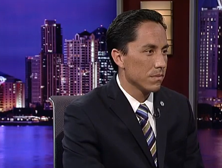 Interim Mayor Todd Gloria on the set of KPBS Evening Edit...