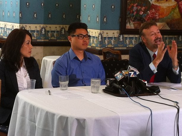 San Diego college student Daniel Chong appears at a July 30, 2013 news conference announcing a $4.1 million settlement with the Dept. of Justice after he was left by the DEA in a jail cell for five days.