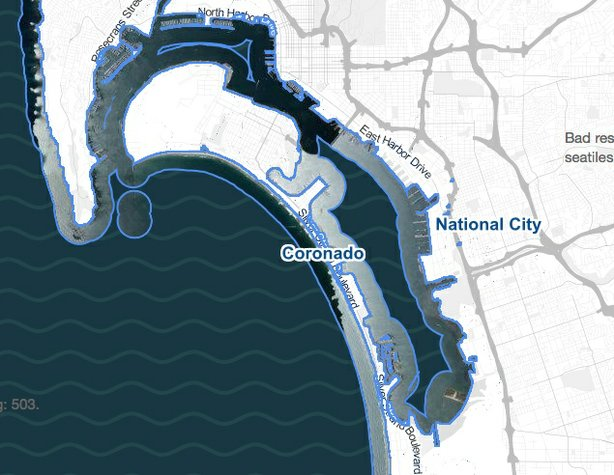 This map shows the potential impact of sea level rise on Coroado.