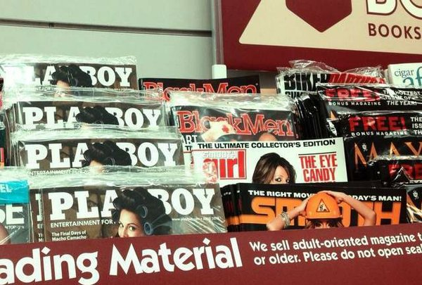 Adult magazines for sale on military bases.