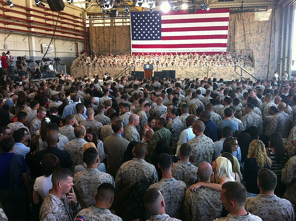 A crowd of about 3,000 Marines and their families gathere...