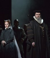"Joyce DiDonato as the title character and Joshua Hopkins as Cecil in Donizetti's ""Maria Stuarda."""