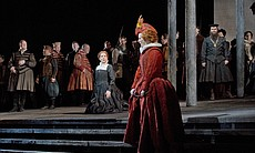 "Joyce DiDonato as the title character and Elza van den Heever as Elisabetta in Donizetti's ""Maria Stuarda."""