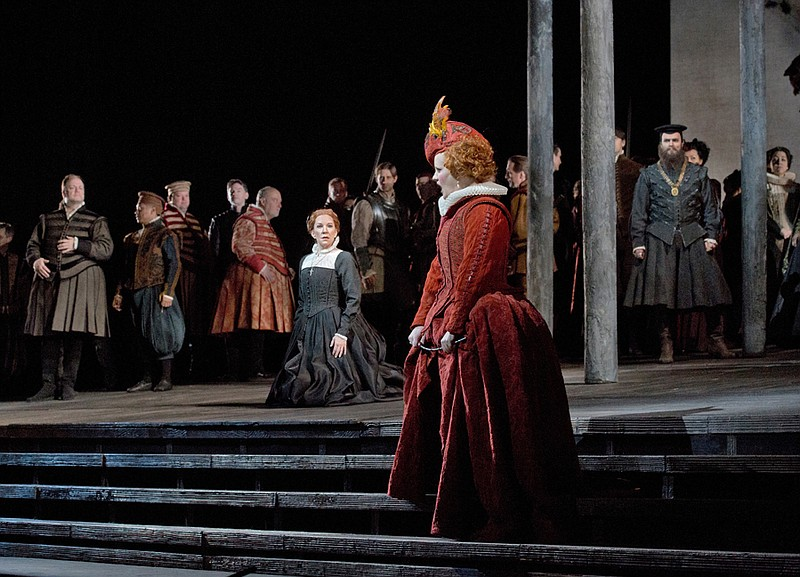 Joyce DiDonato as the title character and Elza van den Heever as Elisabetta i...