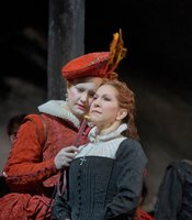 "Elza van den Heever as Elisabetta and Joyce DiDonato as the title character in Donizetti's ""Maria Stuarda."""