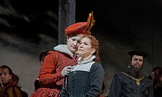 Elza van den Heever as Elisabetta and Joyce DiDonato as the title character i...