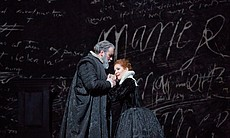 "Matthew Rose as Talbot and Joyce DiDonato as the title character of Donizetti's ""Maria Stuarda."""