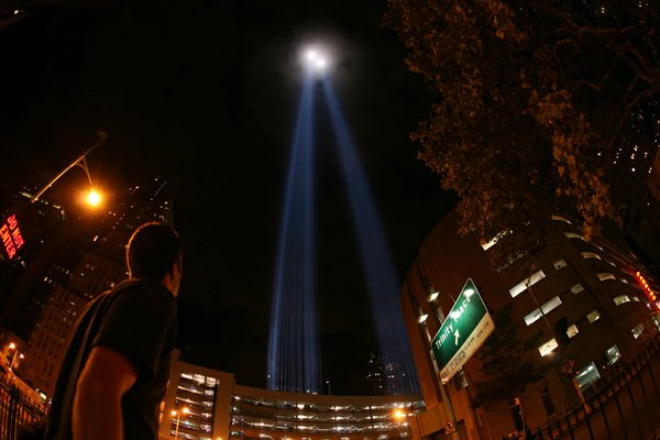 The Tribute in Light in lower Manhattan.
