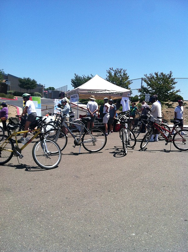 Bicyclists gather at Cherokee Point Elementary School in ...