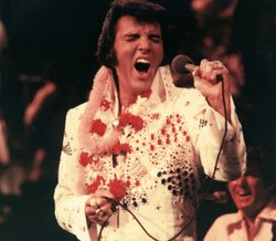 Elvis Presley, pictured performing live, made television history in 1973 with...