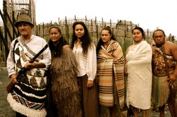 """Family or """"whanau"""" in a historic re-creation of Maori justice."""