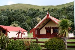 Marae — a traditional Maori meeting place — in Whanghara, New Zealand. In an ...
