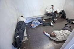 A holding cell with youth inmates.