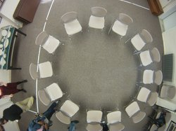 A community conference setup before families of the victims and offenders arr...
