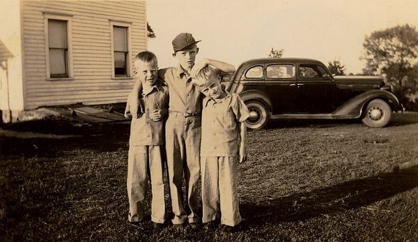 Jerry Apps (center) with twin brothers Darrel and Donald,...