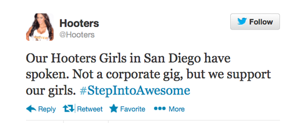 Hooters' corporate account tweeted Tuesday that the compa...