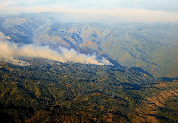 This undated photo shows an aerial shot of a wildfire.
