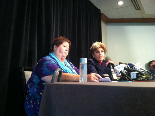 Joined by attorney Gloria Allred, Peggy Shannon, 67, accu...