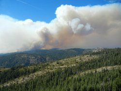 This undated photo from the U.S. Forest Service shows smoke billowing from th...