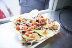 Triple taco serving: chicken shwarma, followed by Ari White's kosher asada an...