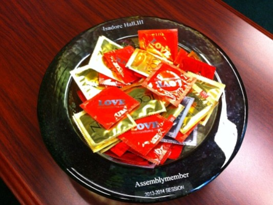 One of serveral bowls of condoms Assemblyman Isadore Hall keeps in his Capito...