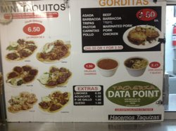 The menu at Datapoint Taqueria is similar to what you would find in Mexico.