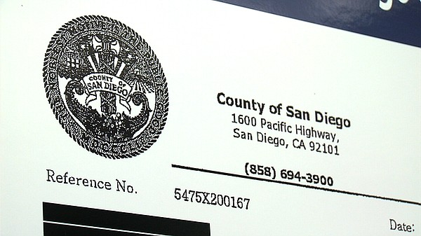The official San Diego County seal appears on a fax involved in the latest lo...