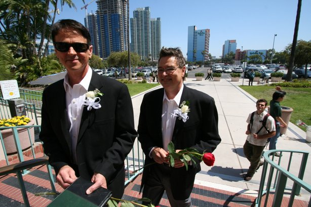 Kevin Settles and David VanGilder arrive at the San Diego County Administration building to get married. Photo taken June 17, 2008.