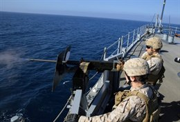 Marines with 13th MEU during training exercise aboard USS Harpers Ferry on Ju...