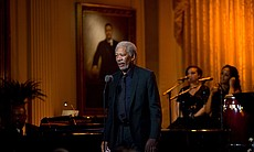 Morgan Freeman, guest speaker in the East Room of the White House, 2010.