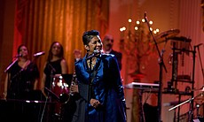 Natalie Cole performs in the East Room of the White House, 2010.