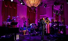 Smokey Robinson and Jennifer Hudson perform in the East Room of the White House, 2010.