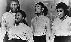 (l-r): Charles Neblett, Bernice Johnson, Cordell Reagon and Rutha Harris, in 1963. Rutha Harris, Charles Neblett and Dr. Bernice Johnson Reagon, joined by musician Toshi Reagon, perform in the program. In the 1960s, the Freedom Singers, part of the Student Nonviolent Coordinating Committee (SNCC), traveled around the country, carrying stories in song of local civil rights movement campaigns to audiences across the nation.