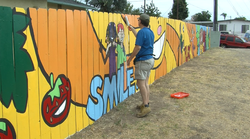Volunteer Sean Dudley helps protect a new mural by Market Creek Plaza from gr...