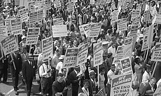 Marchers and banners, The March on Washington 1963.
