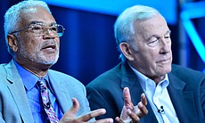 Clayborne Carson and Roger Mudd. During PBS' THE MARCH session at the Televis...